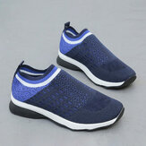 Women Mesh Breathable Elastic Band Comfy Slip On Sneakers