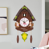 Horloge de coucou antique en bois Temps Cloche Swing Alarm Watch Art mural Artisanat Home