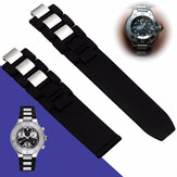20mm Black Rubber Watch Band for Cartier Chronoscaph Autoscaph 21