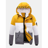 Mens Letter Print Color Block Patchwork Warm Hooded Puffer Jacket With Pocket