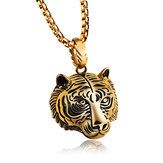 Accessorio Hip-hop Long Necklace Hip Hop dell'accesso in acciaio inossidabile nero tigre Punk Uomo