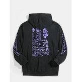 Heren Japanse tekstprint zwarte kangoeroezak katoenen hoodies