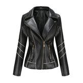 Jaqueta feminina de couro sintético de couro sintético com bolso