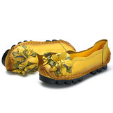 SOCOFY Genuine Leather Handmade Flower Loafers