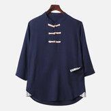 Мужские Винтаж Традиционные китайские льняные хлопковые рубашки Свободные топы