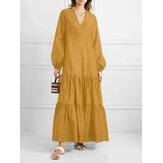 Γυναικεία Στερεά Χρώματα V-Neck Patchwork Ruffles Hem Puff Sleeve Casual Layered Dress