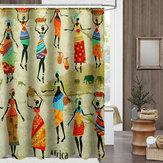 防水浴室のカーテンカスタム独特の漫画のアフリカの女性のパターン浴室のシャワーカーテン