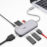 BlitzWolf® BW-TH5 7 in 1 USB-C Data Hub with 3-Port USB 3.0 TF Card Reader USB-C PD Charging 4K Display for MacBooks Notebooks iPad Pros