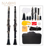 NAOMI Professional Bb 17-Key Clarinet ABS Clarinet Cupronickel Plated Nickel Kit W / Clarinet   Reeds   Strap   Case   Components