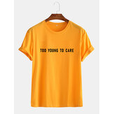 Mens Funny Cotton Slogan Little Tag Short Sleeve Casual T-Shirts