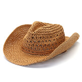 Mens Fedora Straw Hollow Out Cowboy Hat Summer Breathable Wide Brim Jazz Cap