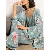 Women Leaves Print Sling Wide Leg Pants Home Cozy Pajamas With Open Front Robe