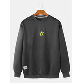 Cotton Mens Sun Print Drop Shoulder Bodycon Pullover Hem Long Sleeve Sweatshirts