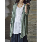 Women Vintage Half Sleeves Cardigans with Pockets