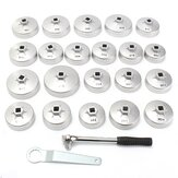 23pcs Cup Type Aluminum Silver Oil Filter Wrench Removal Socket Remover Tool Kit AU