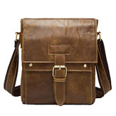 Retro Matte Genuine Leather Crossbody Bag Leisure Business Shoulder Bag