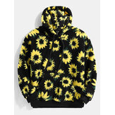 Heren Sherpa Fleece Daisy Pattern Katoenen Kangoeroezak Casual Drawstring Teddy Hoodies