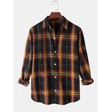 メンズClassicツイードチェック柄プリントラペル襟長袖カジュアルシャツ
