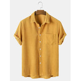Thin Corduroy Mustard Set Turn Down Collar Chest Pocket Short Sleeve Shirts