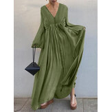 Solid Color V-neck Long Sleeve Big Swing Pleated Button Casual Maxi Dress For Women