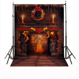 5x7FT Vinyl Christmas Fireplace Art Photography Background Backdrop Studio Props