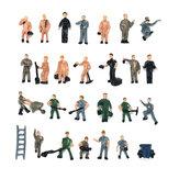 25pcs 1:87 مزيج مطلي نموذج أشخاص مختلفون يطرحون مقياس العمال