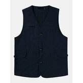 Mens Outdoor Solid Color Multi Pocket Sleeveless Breathable V-Neck Vests