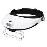 取り外し可能なヘッドバンド拡大鏡調整可能な望遠鏡双眼鏡ツール用品(LED付き)