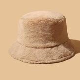 Kadınlar Kalın Sıcak Kış Kova Şapka Düz Renk Kızlar Düz Üst Kadife Fedoras Bayanlar Peluş Bob
