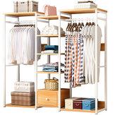 MSFE E19s Wood Closet Storage Organizer Garment Rack Clothes Hanger Dry Shelf Stand