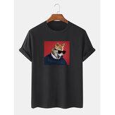 Óculos de sol engraçados para homens Cachorro Padrão Camisetas de manga curta 100% algodão soltas