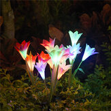 4 LED Solar Power Lily Flower Stake Lights Outdoor Garden Path Lichtgevende lampen