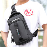 Men Nylon USB Charging Casual Outdoor Brief Chest Bag Shoulder Bag Backpack