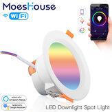 MoesHouse WiFi Smart LED Downlight 7W RGB + CW + WW Luz de ponto redondo de dimerização Trabalhar com Alexa Google Home AC110-240V