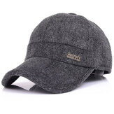 Mens Woolen Thicken With Ear Flaps Baseball Hats Adjustable Warm Snapback Caps