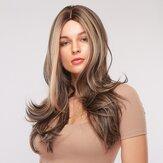 26 Zoll Brown Mixed Gold Langes lockiges Haar Atmungsaktive Chemiefaser Vollkopfbedeckung Perücke