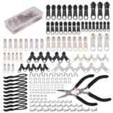 197Pcs Kit de réparation de fermeture à glissière Kit de sauvetage de traction de fermeture à glissière de remplacement avec fermeture à glissière Outil d'installation de pinces et tirettes d'extension de fermeture à glissière pour vêtem