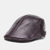 Hommes en cuir véritable couleur unie décontracté universel extérieur chapeau avant béret chapeau