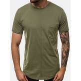 Mens Solid Color Chest Pocket Leisure Holiday Home Round Neck T-shirts