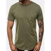 Erkek Düz Renk Göğüs Cep Eğlence Tatil Ev Yuvarlak Boyun T-shirt