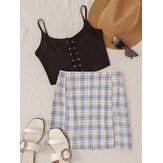 Plaid High Waist Split Bodycon Short Skirts