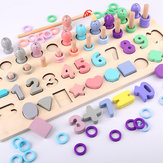 4 in 1 Digital Shape Fishing Log Board Early Education Children's Intellectual Development Toy Baby Puzzle Blocks Toys