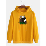 Mens Cotton Panda Print Drop Shoulder Casual Drawstring Hoodies