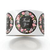 500pcs / roll Fiore carino Grazie Serie Adesivi rotondi Sigilli adesivi Etichette per pacchetti di regali decorativi fai da te per forniture di cancelleria per la scuola