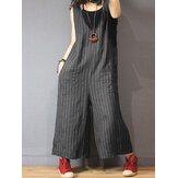 Women Sleeveless V Neck Stripe Loose Overalls Wide Leg Jumpsuit