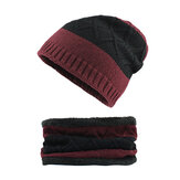 Men Winter Outdoor Two-Piece Set Knitted Wool Cap Neck Scarf
