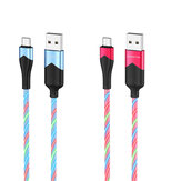 HOCO BU19 2.4A Type C Micro USB RGB LED ضوء Fast شحن Data Cable For Huawei P30 Pro Mate 30 Xiaomi Mi10 Redmi K30 S20 5G