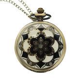 DEFFRUN Mewah Gaya Eropa Bunga Pola Rantai Retro Pocket Watch