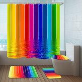 水ラインレインボーポリエステルシャワーカーテンバスルームカーテン3D印刷防水バスルームの装飾