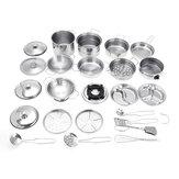 32ピースミニステンレス鋼キッチンカトラリープレイハウス食品玩具ボイラーやかんカップボウルスプーン調理器具
